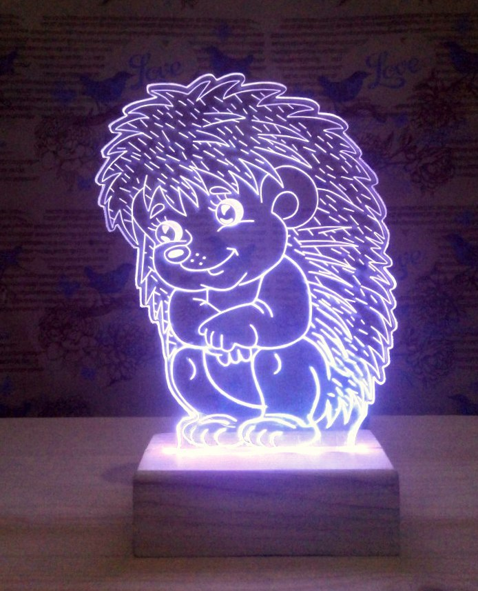 Sitting Hedgehog 3d Lamp Model Template Free DXF File