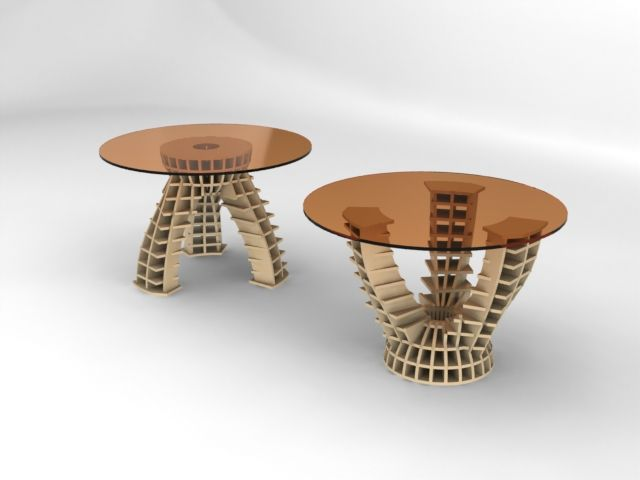 Wooden Laser Cut Table Base Pair Free DXF File