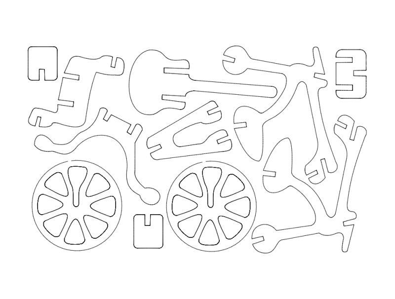 Bicicleta (bicycle) 3d Puzzle Free DXF File