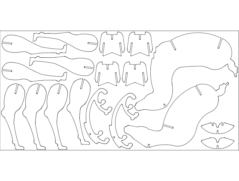 Deer 3d Puzzle Free DXF File
