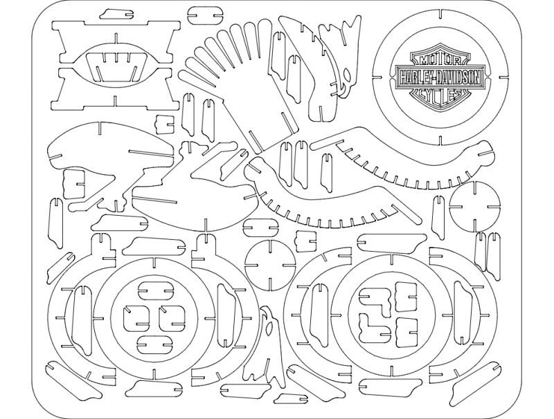 Eagle Harley 3d Puzzle Free DXF File
