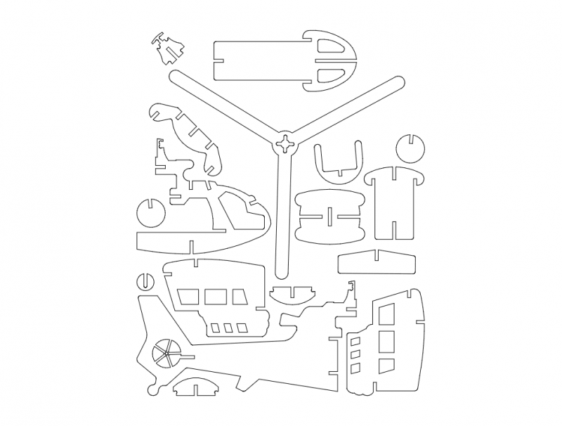 Heli 4.75mm Clean 3d Puzzle Free DXF File