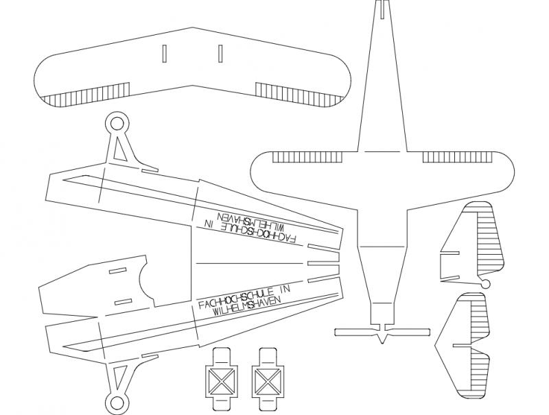 Plane 0p5mm 3d Puzzle Free DXF File