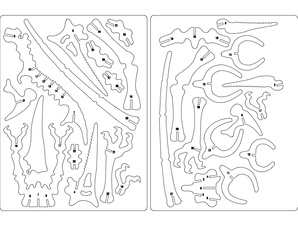 Pterx Instructions 3d Puzzle Free DXF File