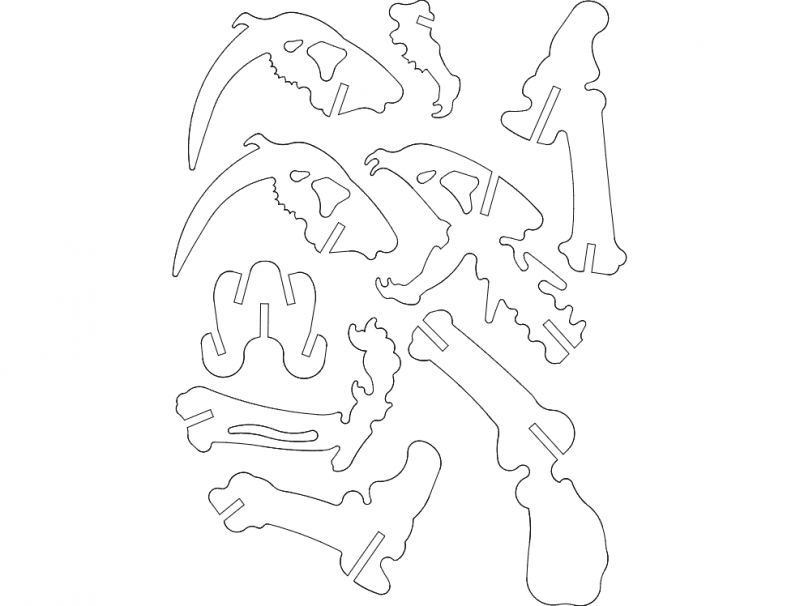 Saber Tooth 3d Puzzle Free DXF File