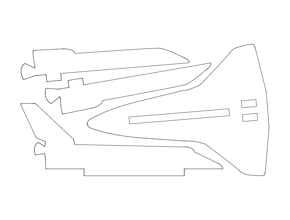 space-shuttle-simplified 3d Puzzle Free DXF File