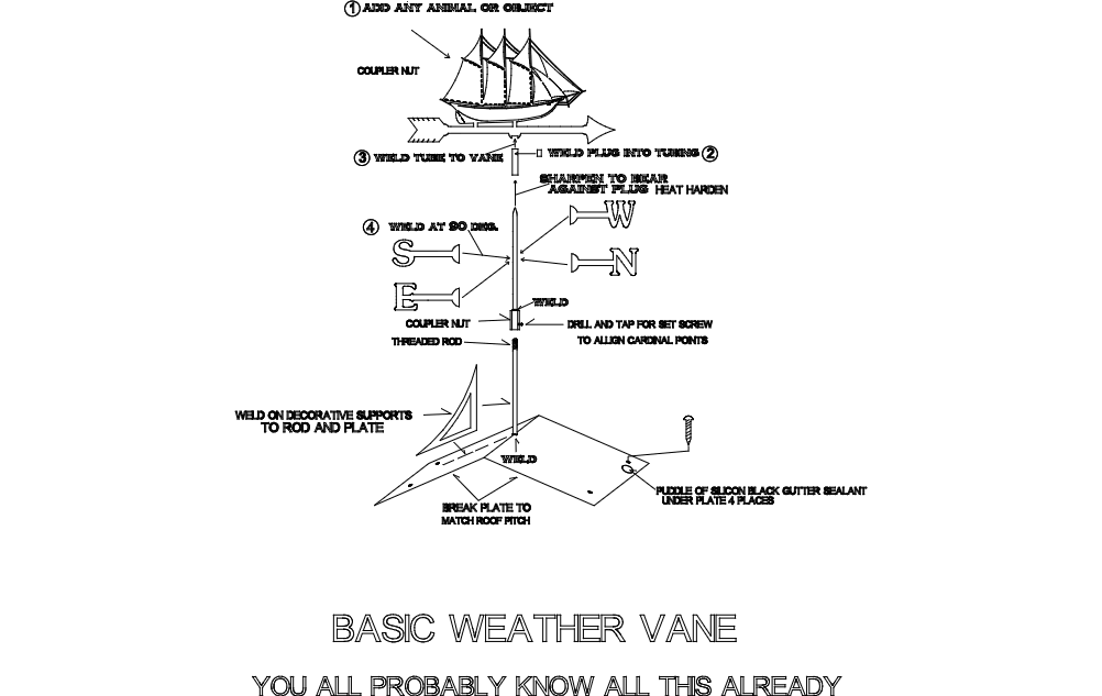 Weather Vane Directions For Export 3d Puzzle Free DXF File