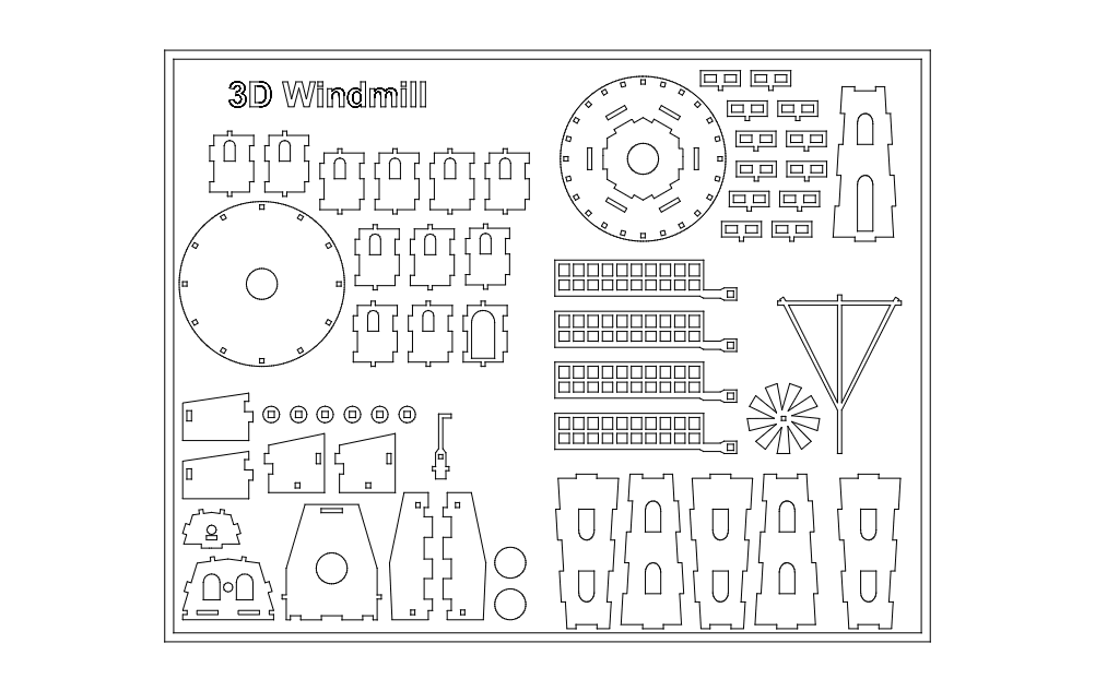 Windmill 3d Puzzle Free DXF File
