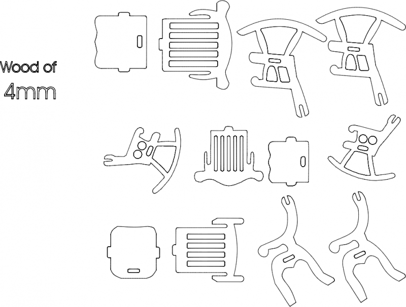 3 Chairs 4mm 3d Puzzle Free DXF File