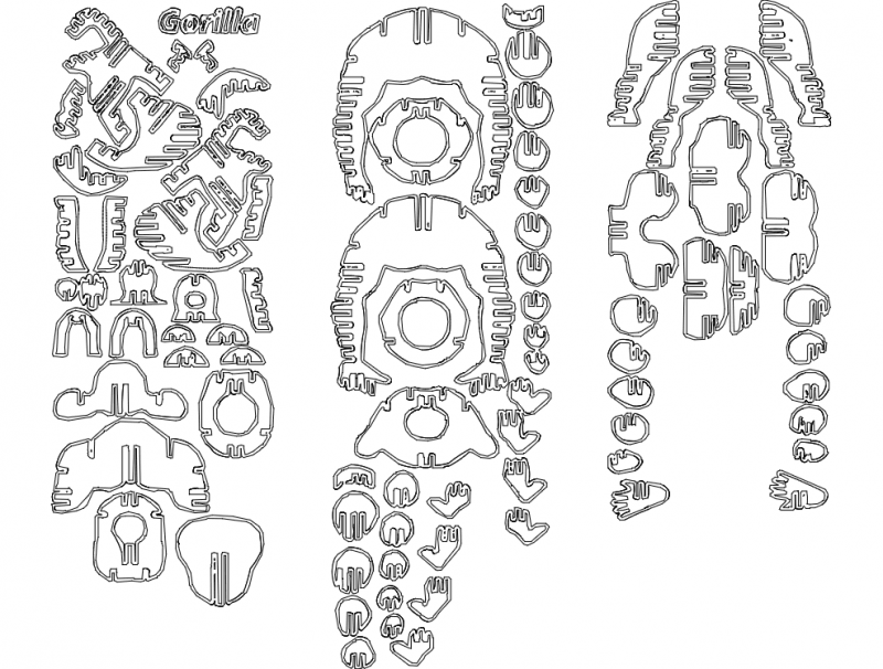 Gorilla 3d Puzzle Free DXF File