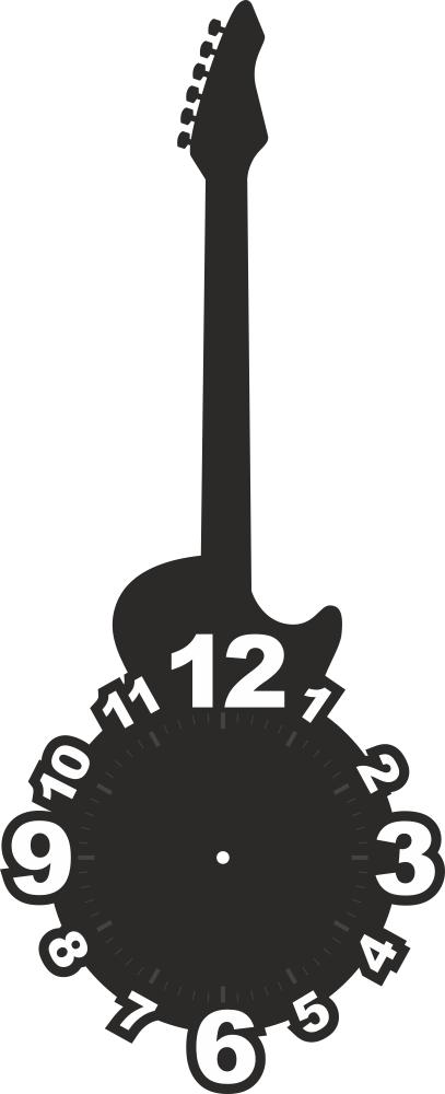 Laser Cut Cnc Guitar Shaped Clock Face Free CDR Vectors Art