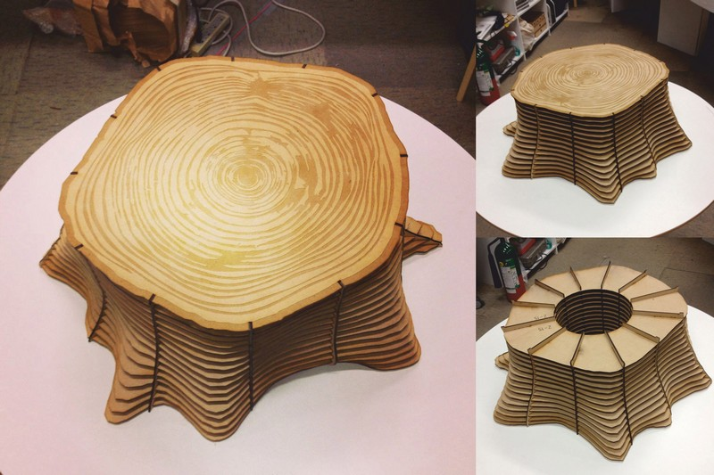 Laser Cut Cnc Tree Base Shaped Table Stool Chair Free CDR Vectors Art