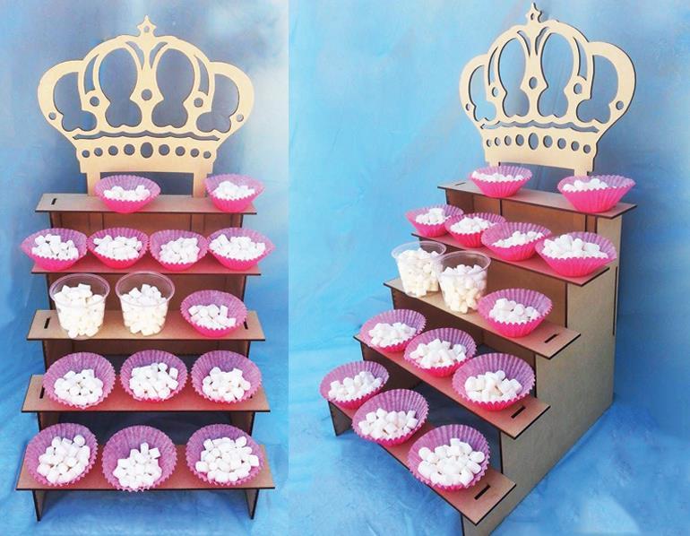 5 Tier Display Shelf With Crown 3d Puzzle Free CDR Vectors Art