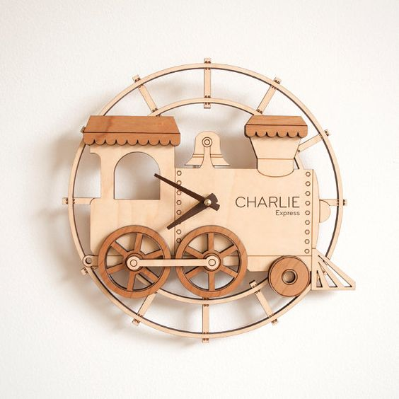 Train Shape Wall Clock Laser Cut Template 3d Puzzle Free CDR Vectors Art
