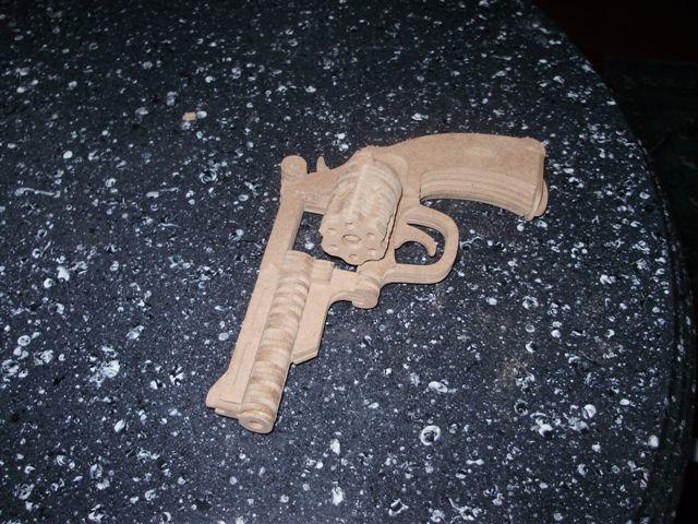 Bulldog Revolver Model Flat Laser Cut 3d Puzzle Free DXF File