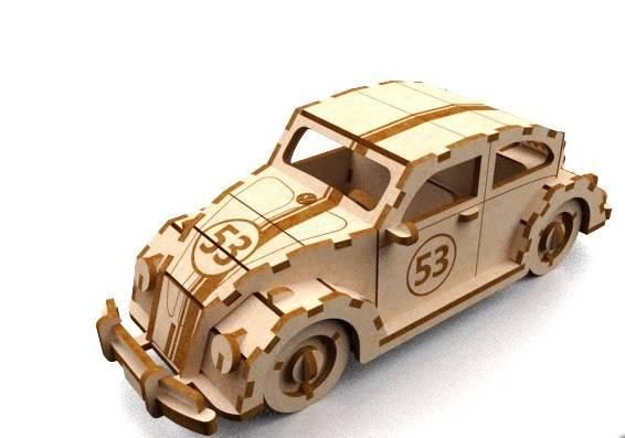 Car Herbie 3mm Laser Cut 3d Puzzle Free DXF File