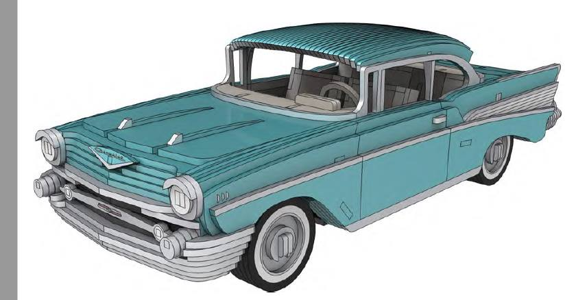 Chevrolet Bel Air 1957 3 Mm Laser Cut 3d Puzzle Free DXF File