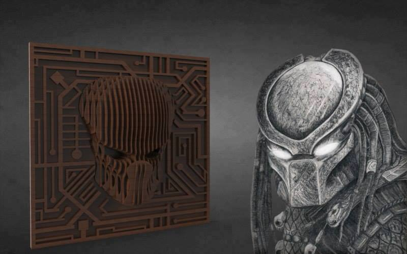 Predator Laser Cut 3d Puzzle Free DXF File