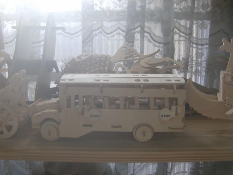 School Bus Model Flat Laser Cut 3d Puzzle Free DXF File