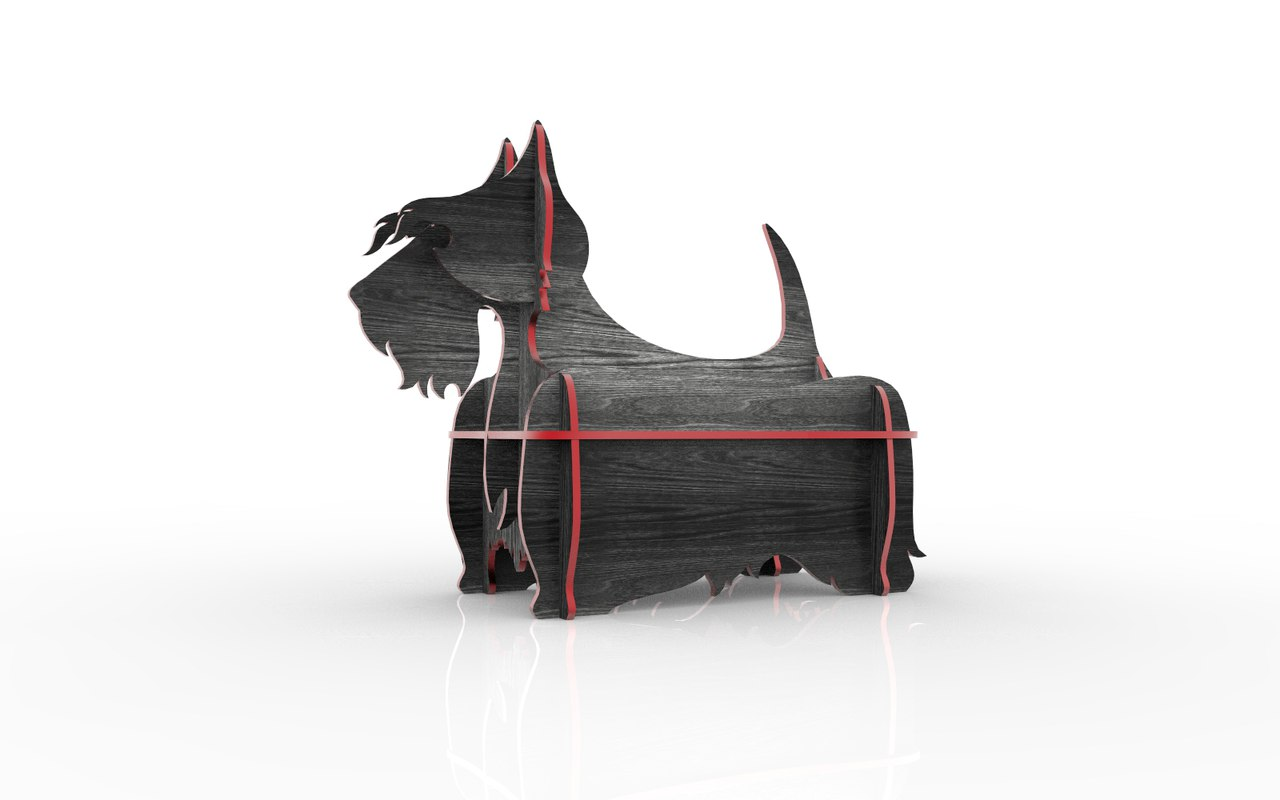 Scottish Terrier Mini Shelf Laser Cut 3d Puzzle Free DXF File