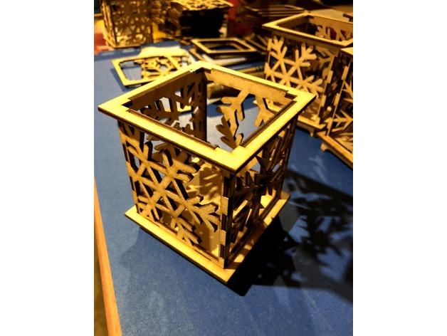 Snowflake Votive Holder Laser Cut 3d Puzzle Free DXF File