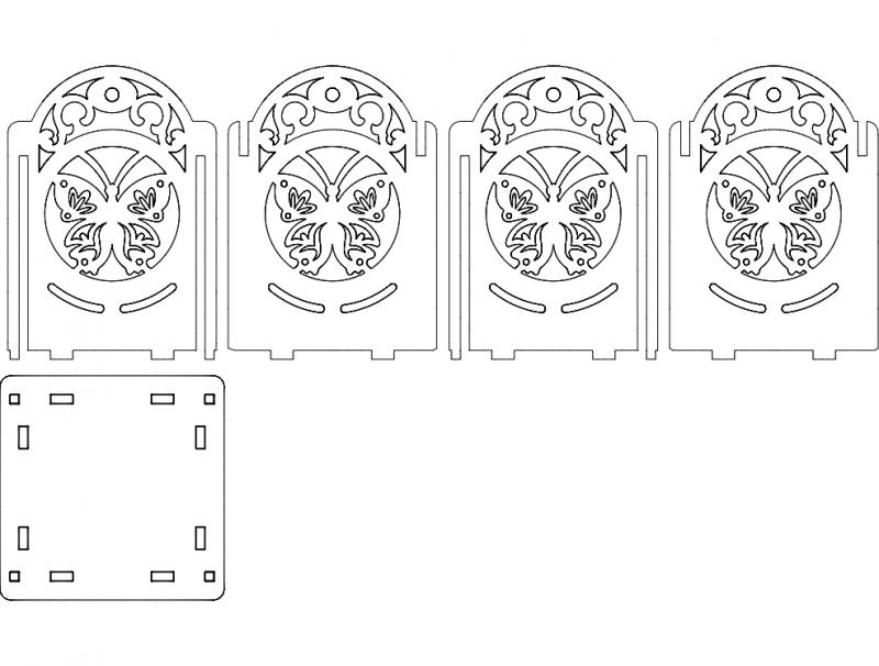 светильник бабочка 100х100х130 4мм Laser Cut 3d Puzzle Free DXF File
