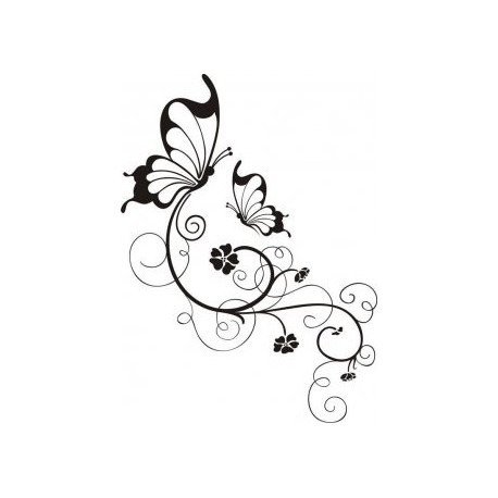 Swirly Butterfly And Flower In Black And White Free DXF File