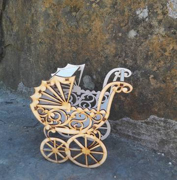 Baby Strollers Pram Laser Cut 3d Puzzle Free CDR Vectors Art