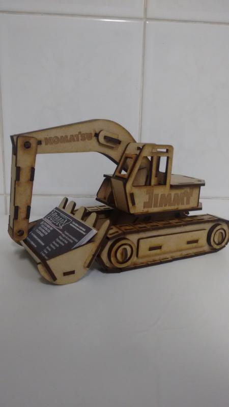 Laser Cut Excavator Visiting Card Holder 3d Puzzle Free CDR Vectors Art