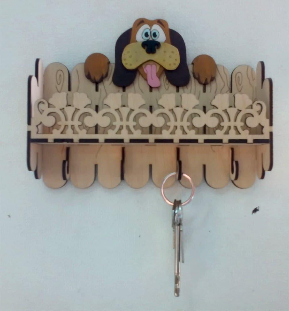 Laser Cut Key Hanger Dog 3mm 3d Puzzle Free CDR Vectors Art