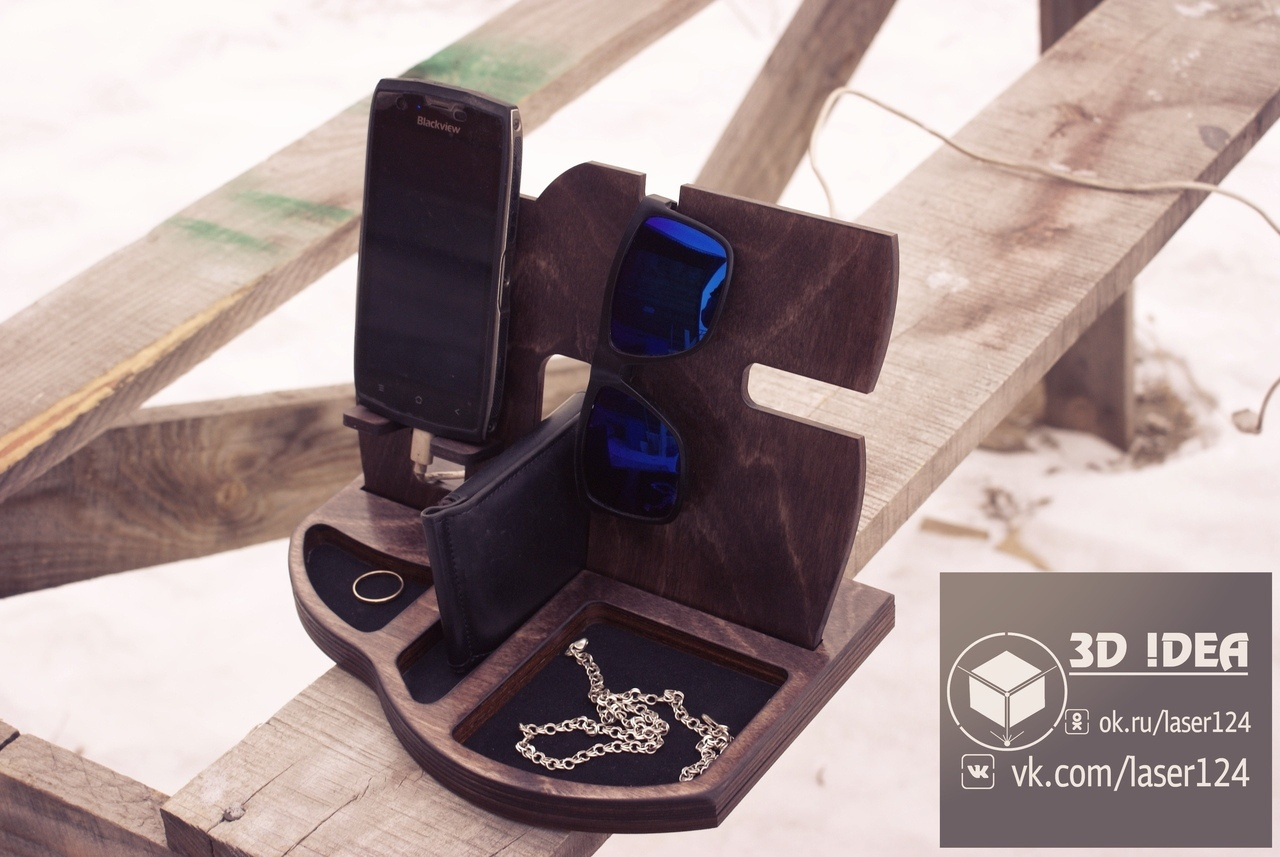 Laser Cut Phone Charging Station With Desk Organize 3d Puzzle Free CDR Vectors Art