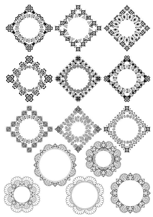 Abstract Border Design Set Ornament Free CDR Vectors Art