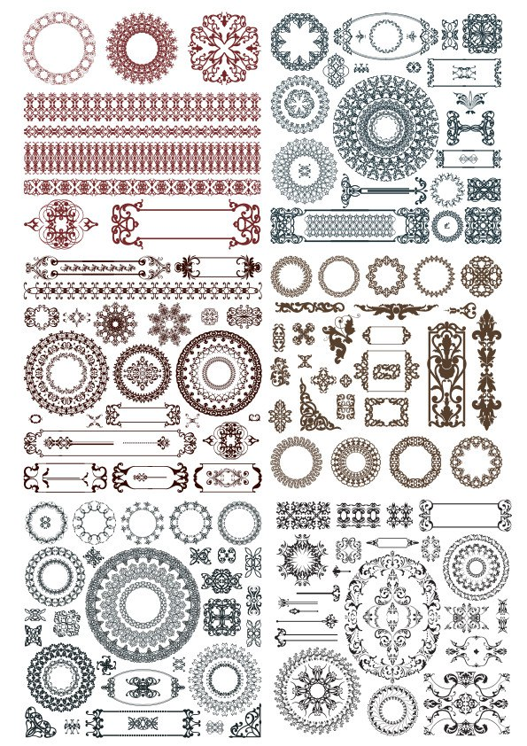 Doodles Border Decor Elements Ornament Free CDR Vectors Art