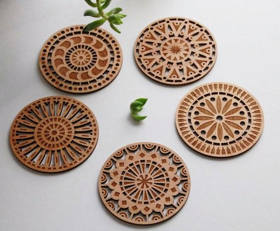 Laser Cut Coasters Ornament Free CDR Vectors Art