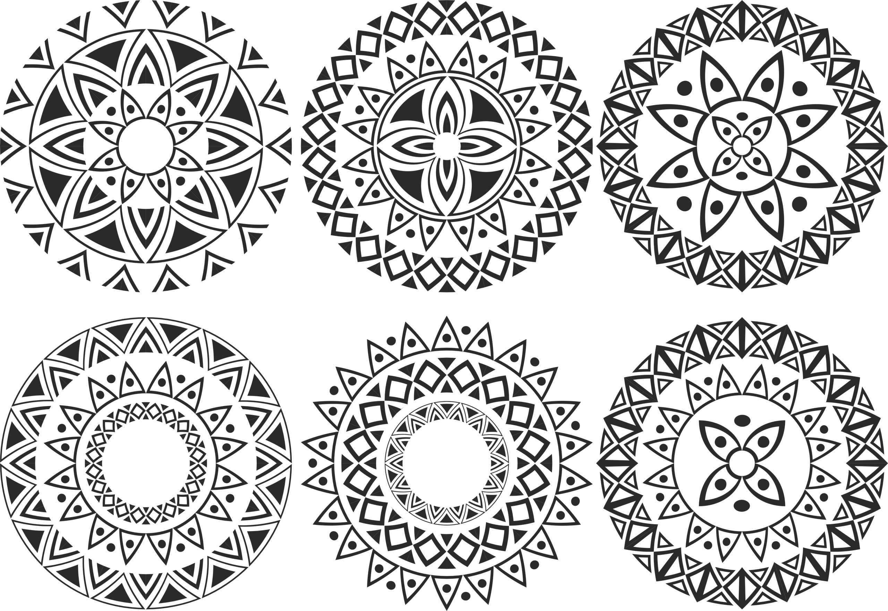 Ornament Circle Set Free CDR Vectors Art