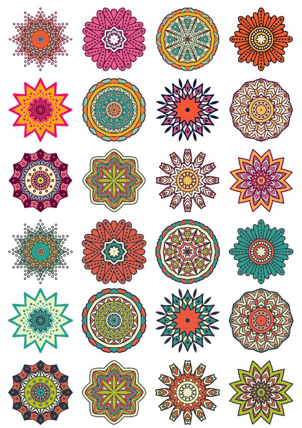 Round Floral Curly Ornaments Pack Free CDR Vectors Art
