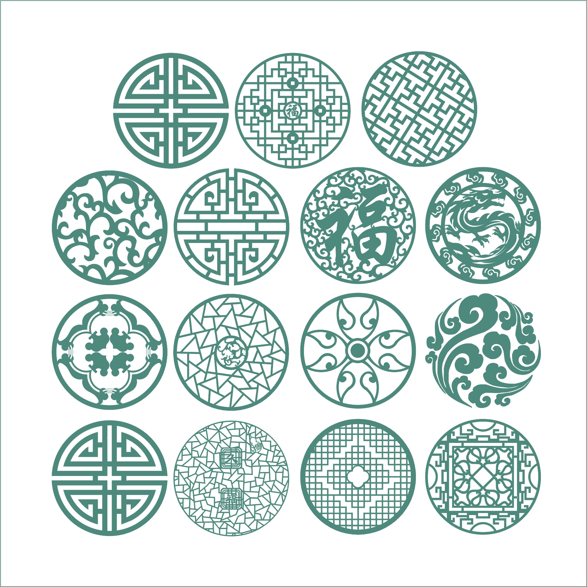 Round Ornaments Set Free CDR Vectors Art