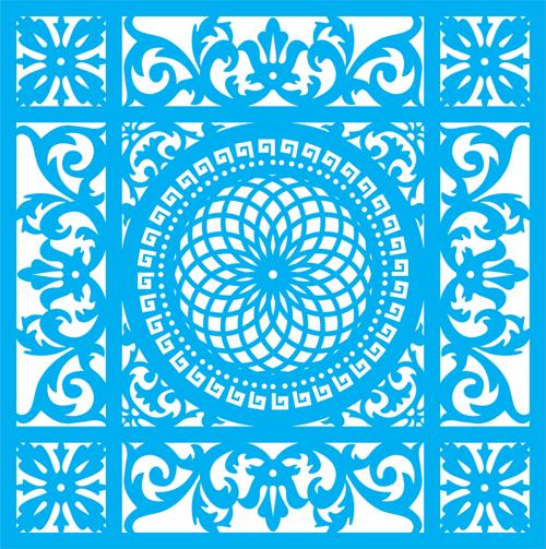 Seamless Blue Damask Pattern Ornament Free CDR Vectors Art