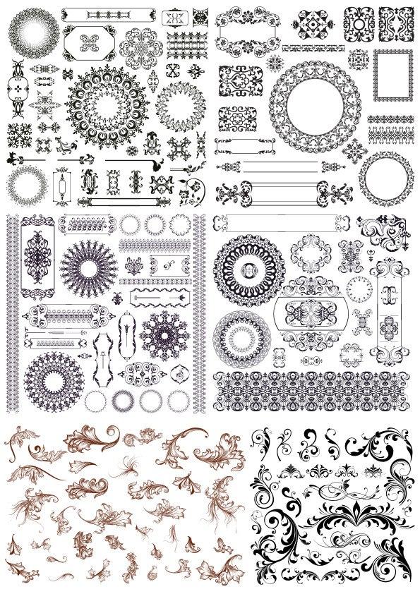 Set Of Decor Elements Ornament Free CDR Vectors Art