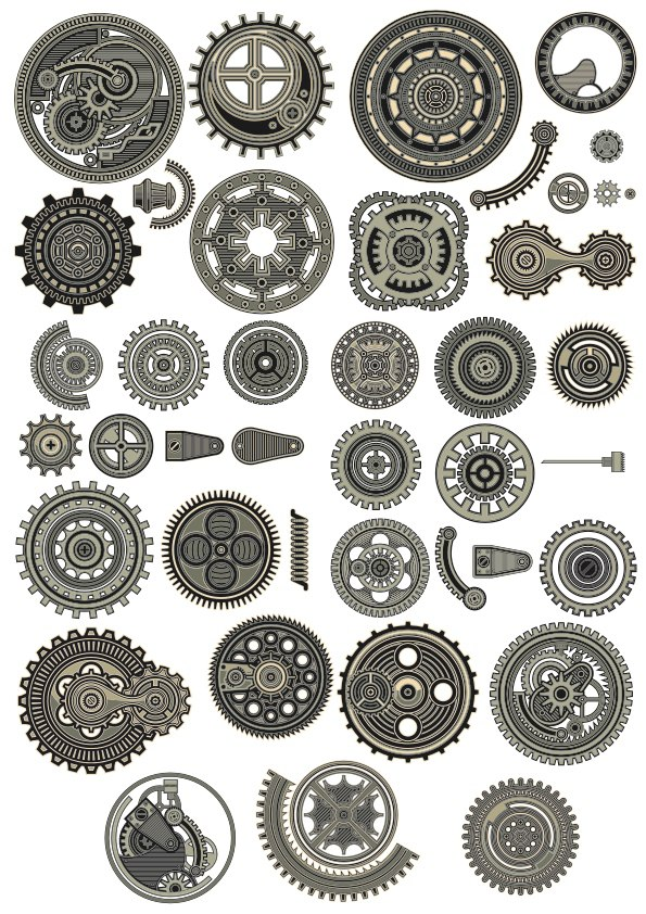 Steampunk Decor Set Ornament Free CDR Vectors Art