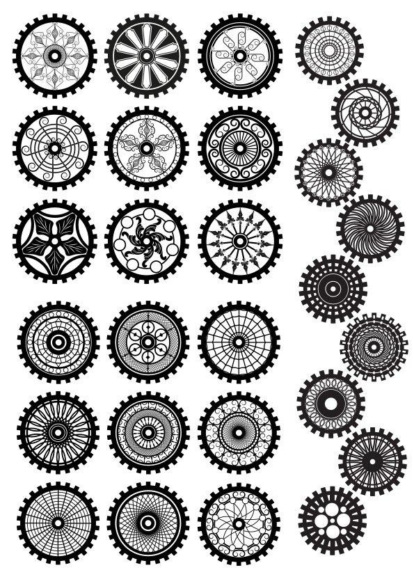 Steampunk Gear Set Ornament Free CDR Vectors Art