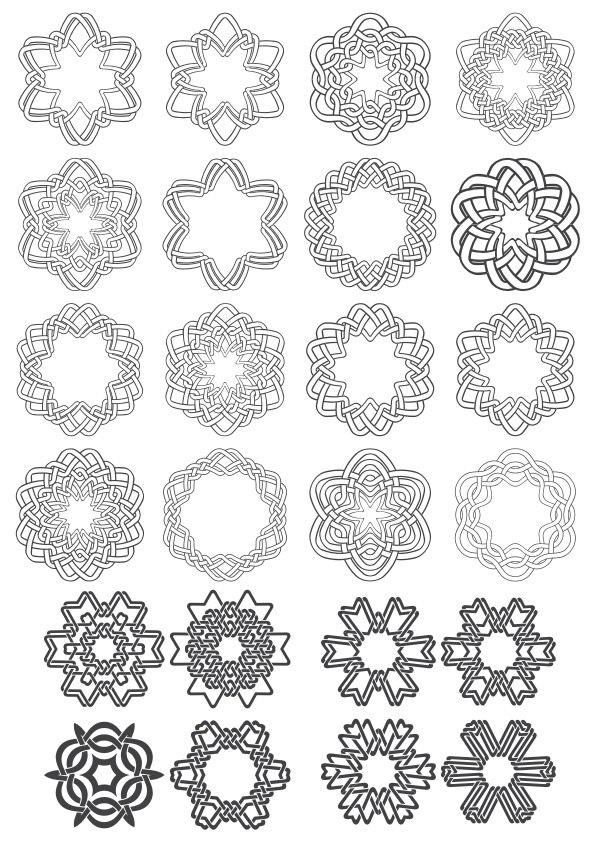 Geometric Circle Ornaments Set Free CDR Vectors Art