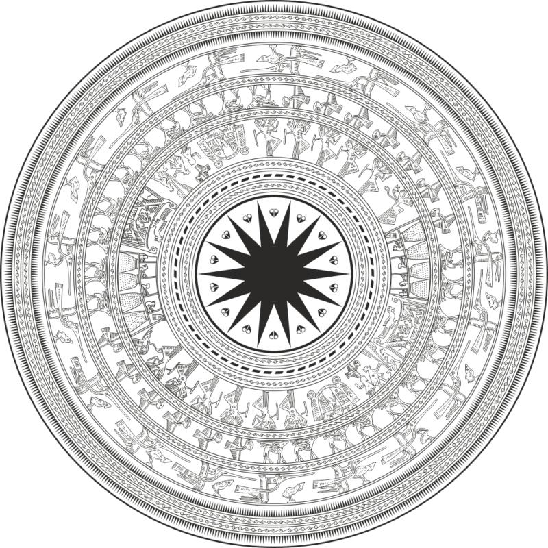 họa tiết trống đồng Ornament Free CDR Vectors Art