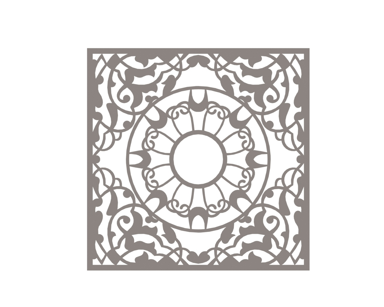 Mandala Square Ornament Free DXF File