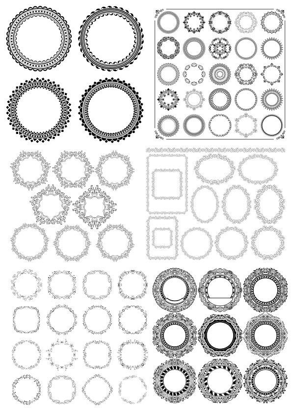 Set Decorative Frame Elements Ornament Free CDR Vectors Art