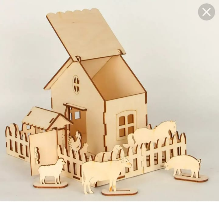 Laser Cut Farm House Free CDR Vectors Art