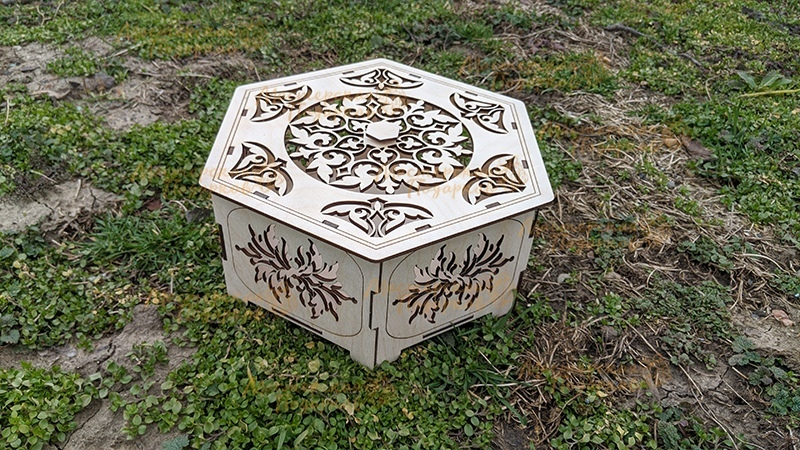 Laser Cut Hexagonal Box Free CDR Vectors Art