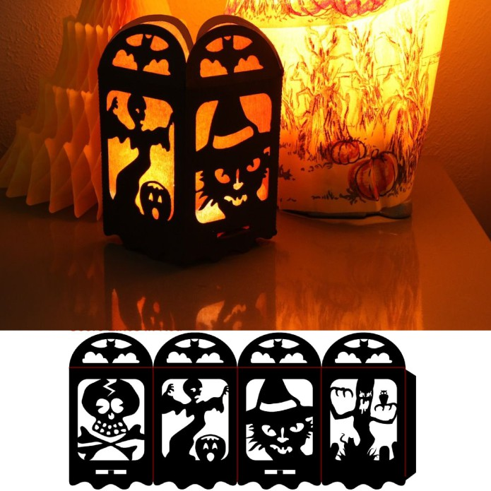 Laser Cut Halloween Lamp Free DXF File