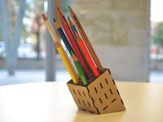 Laser Cut Mdf Pencil Stand Free DXF File