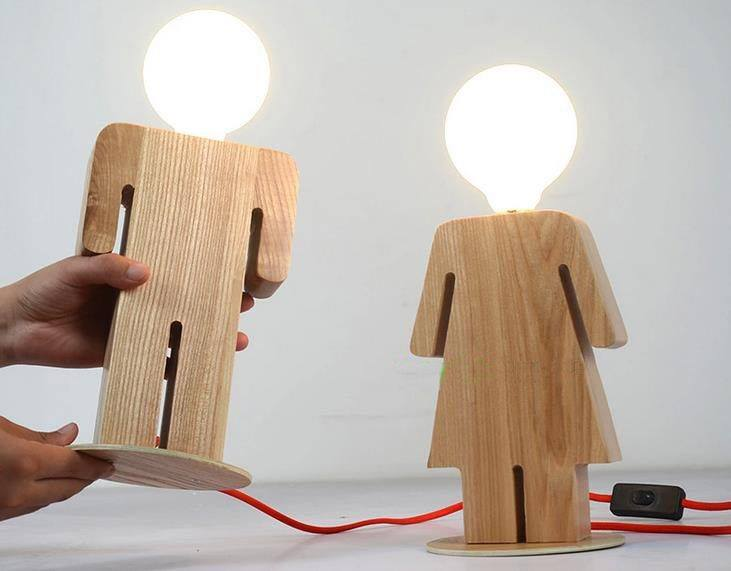 Laser Cut Men And Women Wooden Lamp Free DXF File